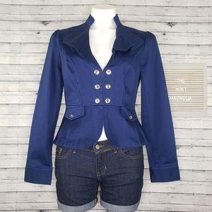 White House Black Market Blue Peplum Jacket